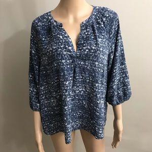 Joie Blouse Top Shirt Sz M blue white prints silk